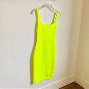 Neon green Zara curvy dress